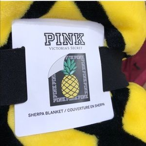 PINK Victoria's Secret Accessories - Victoria's Secret PINK pineapple Sherpa blanket